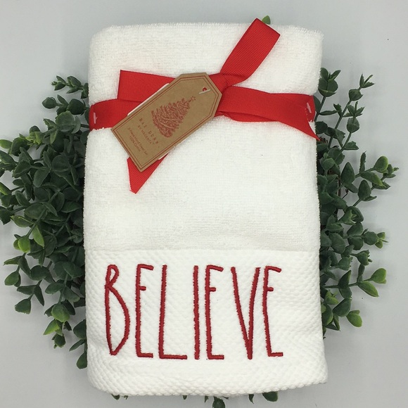 Rae Dunn Set of 2 Christmas Hand Towels Embroidered BELIEVE